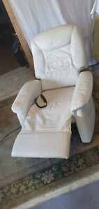 White Leatherette Riser Recliner Chair