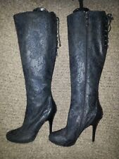 MARCIANO-Black Lace Overlay-Black Leather-Stiletto Boots-Size 5.5-Near Mint