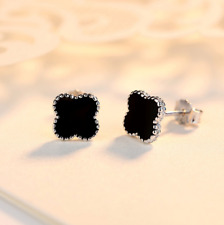 925 Sterling Silver with Rhodium Clover Black Onyx Stud Earrings Gift Box 8MM