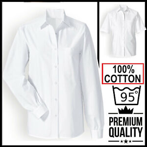 Ladies womans Short/Long Sleeve Formal Oxford Shirt BUSINESS OFFICE WORK CASUAL