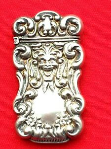 Antique Sterling Silver Marti Gras Face Match Safe