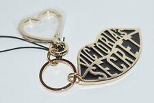 VICTORIA'S SECRET BLACK GOLD LIPS LOGO KEYCHAIN CLIP ON PURSE BAG CHARM METAL