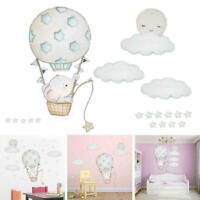 1*Wall Stickers Watercolour Hot Air Balloon Cloud Flags Kids F1A2 Nursery N4Y1