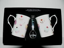 Cupcake Mug & teabag squeezer. China mug with stainless teabag tongs - options