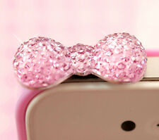 Cute Pink Sparkle Bow UNIVERSAL Headphone Dust Plug - Kawaii Kitsch - UK SELLER