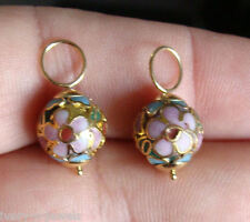 10mm Pink Cloisonne INTERCHANGEABLE Earring Hooplet Charms Solid 14K YG 1 PAIR