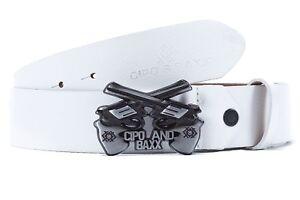 Cipo & Baxx Men's Real Leather Belt Guns Pistol Streetwear Disco Dope Top