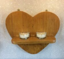 Handmade Rustic Reclaimed Wooden Heart Wall Mounted Shelved Sconce Antique Pine
