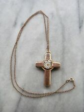 Vintage Gotham 12K GF Christian CROSS Pendant Necklace Watch on Chain
