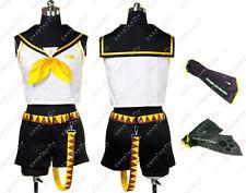 Vocaloid 2 Rin Kagamine Sleeveless Shirt Black Short Cosplay Costume Custom