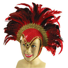 LADIES FEATHER #RED HELMET BRAZILIAN CARNIVAL FANCY DRESS OUTFIT ACCESSORY