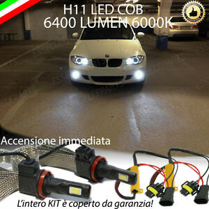 KIT FULL LED BMW SERIE 1 E87 LAMPADE H11 FENDINEBBIA CANBUS 6400 LUMEN 6000K