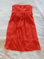 womens red KAY UNGER dress strapless empire waist 100% silk party cocktail XS 2