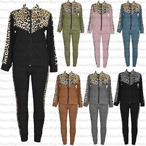 New Ladies Leopard Print Jogging Suit  Zip Top with Lounge Pants Tracksuit Set