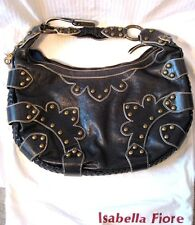 ISABELLA FIORE Black LEATHER Brass Studded HANDBAG Purse