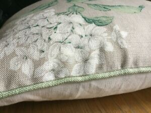 """New 16"""" Laura Ashley Heligan Linen Hydrangea Fabric Cushion Cover Piped Hedgerow"""