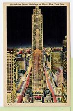 New York 00004000  City Rockefeller Center Buildings at Night Vintage Postcard Linen Ny