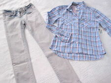 S.OLIVER Jeans HOSE BATIK Look grau blau Gr. 146 REG + Karo BLUSE blau weiss NEU