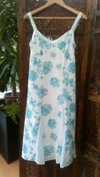 Marks & Spencer Per Una Cotton Summer Dress UK 10 US 6 EU 38 Blue White Floral