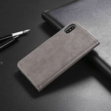 For iPhone XS MAX XR 7 8 Magnetic Genuine Leather Folio Flip Wallet Case Cover