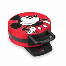 """Disney Mickey Mouse 6"""" 800-watt NonStick Electric Waffle Iron Maker Red & Blac"