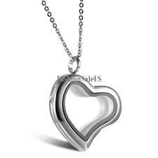 Fashion Lady Girls Stainless Steel Heart Locket Necklace with 18 Inch Rolo Chain