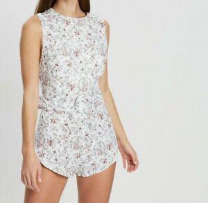 SIR New Womens Linen White Floral Flowe  Haisley Romper Mini Playsuit Sz 2/10AU