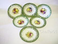 6 Faience Art Deco Fruit Plates with Reticulated Rim