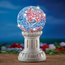 Solar Powered Lighted Americana Mosaic Gazing Ball with Stand