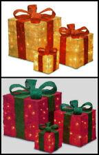 3x LED  Light Up Glitter Christmas Presents Gift Boxes Parcel Xmas Decoration UK