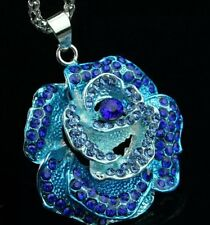 Betsey Johnson Necklace BLUE ROSE OMBRE Flower Crystals SILVER GIFT BOX