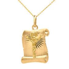 Solid 14k Yellow Vintage Gold Jesus Christ Scroll Charm Pendant