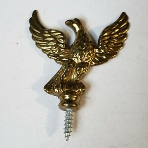 Solid  Brass Eagle Spread Open Wing American Finial Screw Base Flag Pole Topper