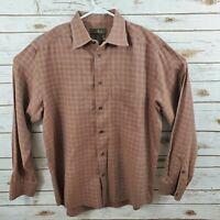 Mens Ermenegildo Zegna Medium Long Sleeve Plaid Dress Shirt Brown Great