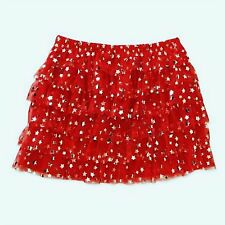 New Girls Toddler Tutu ruffle red and Sliver stars Foil Print Skirt 12 18 24M 4T