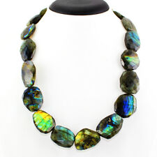 BEST 595.00 CTS NATURAL BLUE FLASH  FACETED LABRADORITE BEADS NECKLACE GEMSTONE
