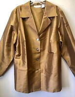 Bloomingdales Women's Plus 20W Bronze Gold 100% Silk Button Front Tunic Top