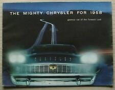 CHRYSLER CAR RANGE USA LF Car Sales Brochure 1958  New Yorker SARAGOTA Windsor