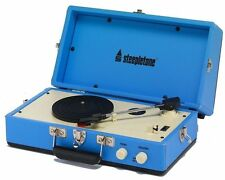 Steepletone SRP025 Retro 60'S Style PORTABLE RECORD PLAYER with Speaker BLUE