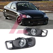 For 1999-2000 Honda Civic Fog Lights (Wiring, Switch, and Bezels) Clear Lens