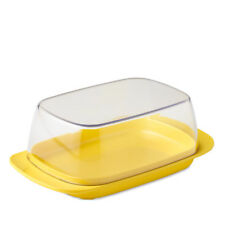 Rosti Mepal Plastic Butter Dish, Clear with Latin Yellow Base Melamine Breakfast