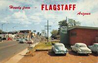 Postcard Looking East on Santa Fe Avenue US 66 through Flagstaff Arizona~121219