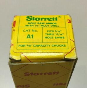 "Vintage Starrett 1/4""-6.5mm High Speed Pilot Drill Hole Saw Arbor 3/8 Chuck A1"