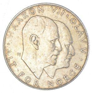 SILVER - WORLD Coin - 1970 Norway 25 Kroner - World Silver Coin *793