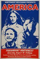 America - Concert VINTAGE BAND Music POSTERS Rock Travel Old Advert #ob