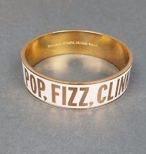 Kate Spade Pop Fizz Clink Idiom Bangle Bracelet 12K Rose Gold Plate White Enamel