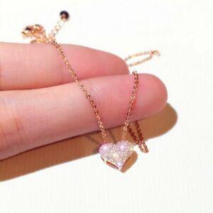 Luxury Zircon Heart Pendant Necklace Clavicle Choker Women Wedding Jewelry Gift