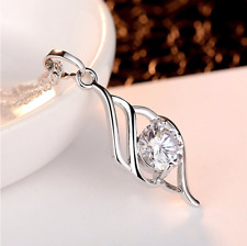 Ladies Pendant Necklace Cubic Zirconia Silver White Zircon Colour Silver Chain