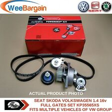 VW Golf V VI Polo Caddy III 1.4 16v KP35565XS GATES Timing Belt Kit & Water Pump