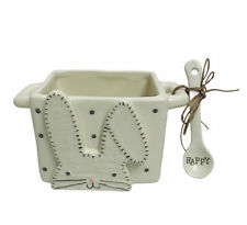 Mud Pie White Bunny Candy Caddy Set Dish With Happy Spoon Easter Basket Holiday